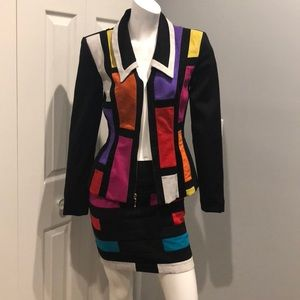 Vintage color block skirt suit